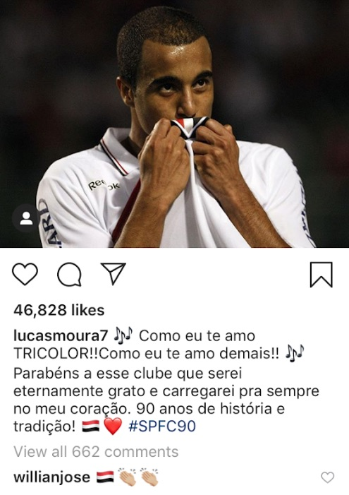 Willian Jose comments on Lucas Moura Instagram post